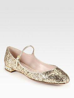 Glitter Rhinestone-Heel Mary Jane Flat