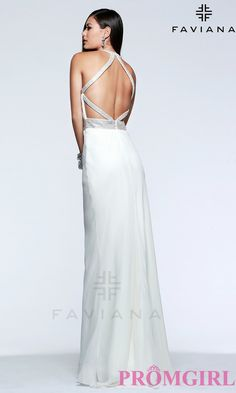 Long V-Neck Open Back Gown by Faviana $351.99 Prom 2015