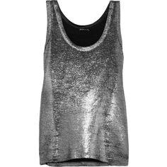 Ann Demeulemeester - Metallic Linen-blend Tank ($272) ❤ liked on Polyvore featuring tops, silver, metallic top, metallic tank, ann demeulemeester and metallic tank top
