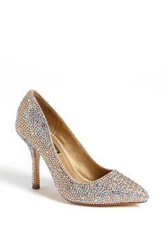 Cinderella shoe: Crystal pump.I would wear this if the heal was shorter. I need 3 inches or less for my dress