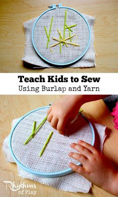 Teach kids to sew using burlap and yarn for an easy first lesson in the mechanics of sewing for preschoolers and up. Learning how to sew on burlap is a great sewing lesson for beginners. Sewing with kids on burlap is a fun fine motor activity to practice before trying more advanced forms of handwork. This technique is often used in Waldorf, Montessori, and homeschool education. Sewing Basics, Sewing Hacks, Sewing Tutorials, Sewing Crafts, Sewing Ideas, Sewing Tips, Montessori, Sewing Courses, How To Teach Kids