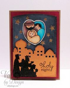 A Nativity Scene Christmas Card with Paper Smooches