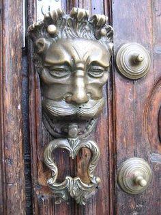 Antique Brass Mustache Man Door Knocker