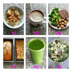 M1 ○ 1/2 cup oatmeal, banana, cinnamon & splash of milk. M2 ○ homemade latte with stevia. M3 ○ turkey patty, broccoli, potatoes & ketchup. M4 ○ 2 small slices of banana bread M5 ○ frozen spinach, kiwi, peach blended with water. M6 ○ salad of broccoli, kale, lettuce, brussel sprouts, sunflower seeds, dried cranberries with poppyseed dressing. #mealdiary