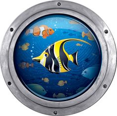 Porthole view of fish swimming Wall decal removable by StyleAwall