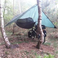 On a trip from the Netherlands to France. This is the golden setup to sleep in m… On a trip from the Netherlands to France. This is the golden setup to sleep in my It is amazing to know when you sleep in this for a couple of days. It is hard to … Bushcraft Camping, Camping And Hiking, Camping Survival, Camping Life, Tent Camping, Camping Gear, Outdoor Camping, Camping Hacks, Outdoor Gear