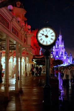 Disney - Main Street Clock at Night (Explored) by Express Monorail, via Flickr
