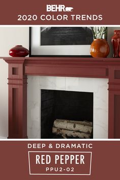 Nothing says deep and dramatic like a new coat of BEHR® Paint in Red Pepper, from the BEHR 2020 Color Trends Palette. A bold shade of red, we love how it's featured here as an accent color on this painted fireplace mantle. This rich hue pops against the neutral walls and white marble fireplace. Click below for full color details.