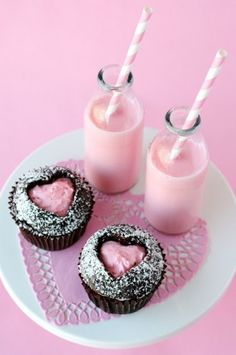 Pink heart chocolate cupcakes