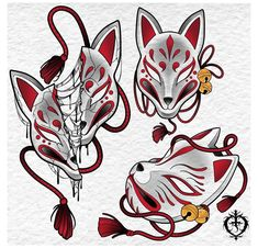 Japanese Mask Tattoo, Japanese Tattoo Designs, Tattoo Sketches, Drawing Sketches, Art Drawings, Tatuaje Tengu, Kitsune Maske, Kunst Tattoos, Mask Drawing
