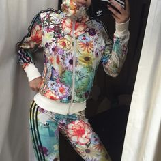Adidas originals floral striped zip up jacket XS Brand new with tags. ❤️ All items bought ships the same day or the next day at the latest. ❤️ Make an offer through the offer button only please ❤️All items are in great like new condition unless stated otherwise. ❌No trades and I only sell on poshmark Adidas Jackets & Coats
