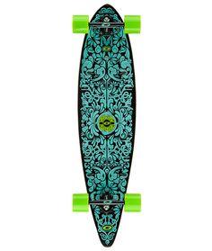 Spectrum Pintail Longboard Skateboard   Complete Single Kick Board with Green Wheels