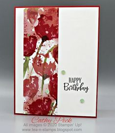 Simple Birthday with Peaceful Poppies DSP from Stampin' Up! by Cathy Peck Poppy Cards, Happy Birthday Cards, Birthday Greetings, Birthday Wishes, Stamping Up Cards, Card Sketches, Scrapbook Paper, Scrapbooking, Flower Cards