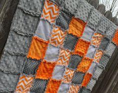 Gray & Aqua CHEVRON Rag Quilt/Blanket Perfect baby door BabyBazerk