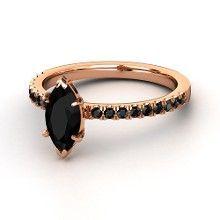 Marquise Black Onyx 14K Rose Gold Ring with Black Diamond