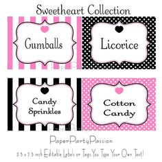 Pink and Black Party Labels or TagsEDITABLE by PaperPartyPassion, $4.50