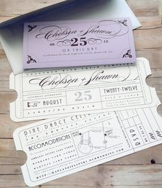 Vintage Ticket Wedding Invitation For more insipiration visit us at https://facebook.com/theweddingcompanyni or http://www.theweddingcompany.ie