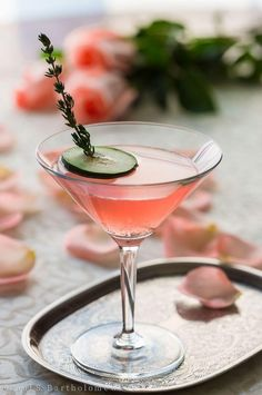 Cucumber & Rose Gin Cocktail made with Hendrick's Gin, Rose Water, Cucumber, St. Germain, Peychaud's Bitters, Lime Juice and Cardamom. So refreshing, easy, pretty and pink! #gincocktails