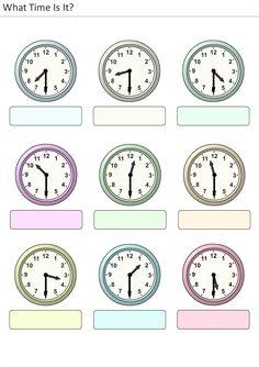 Actividades para niños preescolar, primaria e inicial. Plantillas con relojes analogicos para aprender la hora diciendo que hora es. Que hora es. 18
