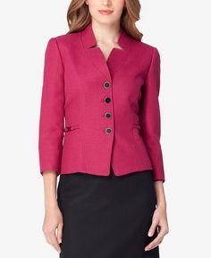 Tahari ASL Petite Herringbone Colorblocked Skirt Suit - Wear to Work - Women - Macy's