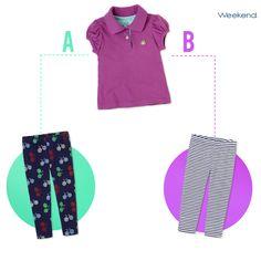 Complementa el look perfecto de tu pequeña con unos leggings estampados o lisos. Con #EstrenaMás, llévate los dos x $70. ¿Cuál elegirías, A o B?