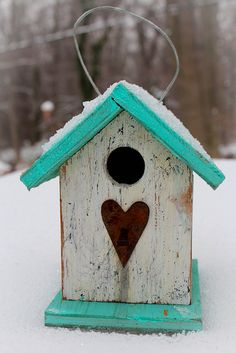 bird house. Simple and cool turquoise n red with shabby white