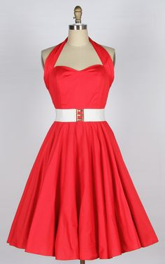 what style is 50s dresses | Home :: 1950s Dresses :: 40s 50s Halterneck cotton Swing Dress red