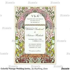 Colorful Vintage Wedding Invitations Art Nouveau