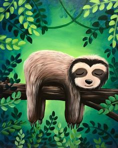 Paint Nite painting Sleepy Sloth is a great project to create with your children and hang on their walls. Find this painting and others on our event calendar. Filter to All Age events. Paint And Sip, Paint Party, Painting For Kids, Rock Art, Art Lessons, Painted Rocks, New Art, Art Projects, Art Drawings