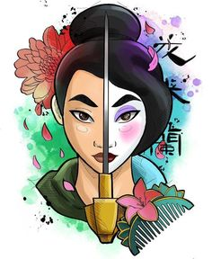 Mulan, Tattoo Design- # design - New Ideas Disney Character Drawings, Cute Disney Drawings, Disney Princess Drawings, Cool Art Drawings, Cartoon Drawings, Art Sketches, Disney Kunst, Arte Disney, Disney Tattoos