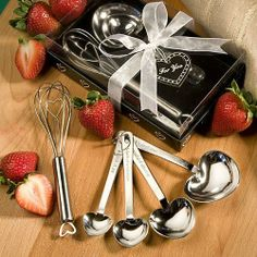 Measuring Spoon and Whisk Favor Sets (Set of 6) - Wedding Party Favors by Wedding Favors. $28.15. Quality Favor from FavorOnline. These heart design measuring spoons and wire whisk sets are event favors that really cook. Looking to add a little heartfelt ingredient to your event planning mix? Well this baking set favor is just the flavor youll need. Each set contains a wire whisk and the famous Love Beyond Measure measuring spoon set. The 6 x 1 whisk is made of sturdy stainl...
