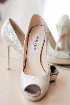 Jimmy Choo White Glitter Open Toe Dress Sandals