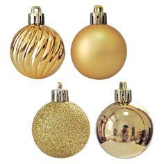 24ct Christmas Tree Balls Ornaments Shatterproof Decorations Party Decor Gold #Kistore