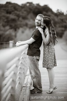 Salt & Light Photography » KC Engagement Photos: Vince & Sheena - Salt & Light Photography engaged fishing outside outdoors nature love kisses tip toes dock lake pond stream black and white