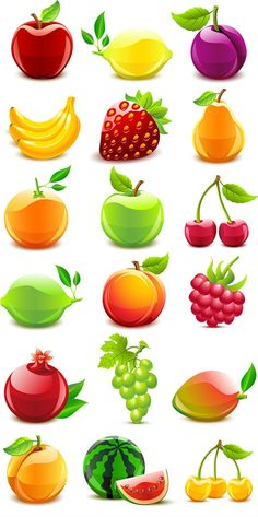 Crystal texture of fruits vector graphics                              …