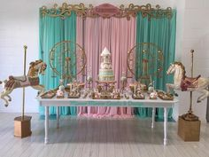 Carousel fun for 👭 princesses! Happy birthday Nikki and Nellie! Carousel Themed Birthday, Carousel Party, Circus Birthday, 1st Birthday Girls, Happy Birthday, Carnival Baby Showers, Circus Carnival Party, Carnival Birthday Parties, Birthday Party Themes