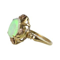 Victorian Opal Ring with Rose and Green Gold Accents 10K