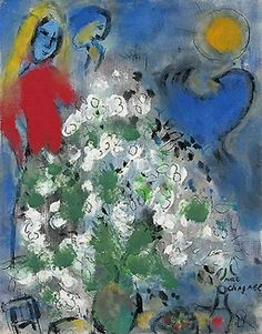 Blue Rooster and White Flowers - Marc Chagall 1957