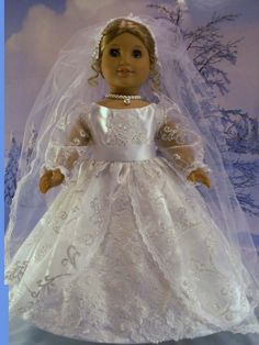 Winter Bride Gown Cape Muff Fits American Girl Dolls Elizabeth 18 In | eBay