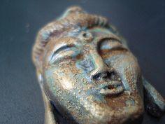 tiny buddha head Polymer clay, swellegant patina