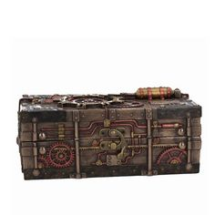 Remis en stock / Back in stock: Steampunk box in resin with mechanism and pipes The Enigma Vault Prix: Clock Sound, Small Clock, Steampunk, The Time Machine, English Heritage, New Inventions, En Stock, Vaulting, Bronze Finish