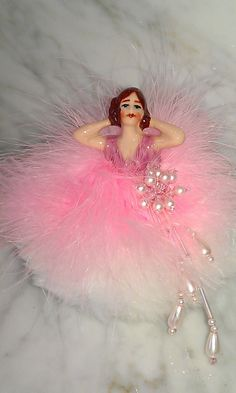 Powder Puff Porcelain Doll with boa and by victoriandollslamps, $40.00