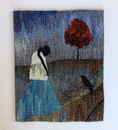 "The piece ""Which Way Crow,"" by DeAnna Rigter, will be among the 30 works of tapestry featured in the Small Tapestry International 5 exhibition running Aug. 30 (Saturday) at UNT on the Square. Weaving Art, Loom Weaving, Hand Weaving, Tapestry Loom, Small Tapestry, Contemporary Tapestries, Organic Art, Tapestry Design, Weaving Techniques"