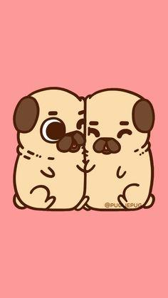 Dog, pug, and puppy image Kawaii Doodles, Cute Kawaii Drawings, Cute Animal Drawings, Cute Doodles, Pug Wallpaper, Funny Phone Wallpaper, Kawaii Wallpaper, Pug Cartoon, Pug Art