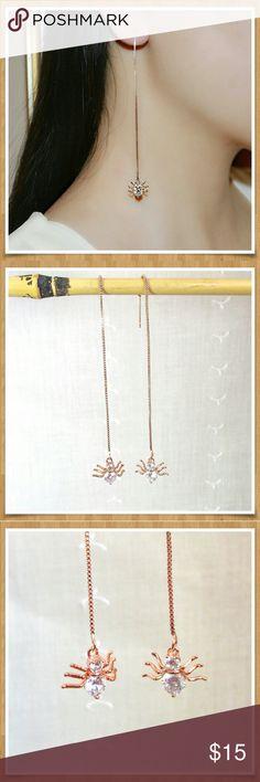 Rose Gold & Rhinestone Spider Threader Earrings Long elegant threader earrings. Rose gold with clear rhinestones. Brand new. Jewelry Earrings