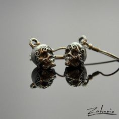 Ornamented Skulls | Silver Dangle Earrings - product images  of