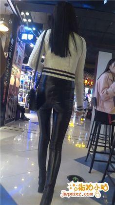 4k超清,跟拍高腰紧身皮裤苹果臀长腿美女逛街 街拍小站 Lederhosen, Sexy Jeans, Jeggings, Asian Girl, Thighs, Leather Pants, Female, Boots, Womens Fashion