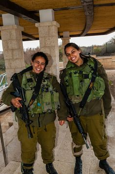 Female Israeli soldiers guading the frontier with Jordan at Qasr-Al-Yahud on the River Jordan