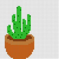 Potted Cactus Perler Bead Pattern