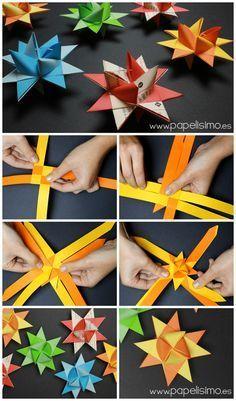 estrella de papel navidad origami froebel paper stars christmas